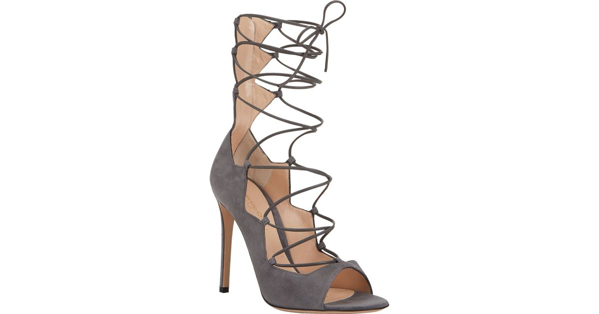 c1bec30b1e2 Gianvito Rossi Suede Lace-Up Sandals in Gray - Lyst