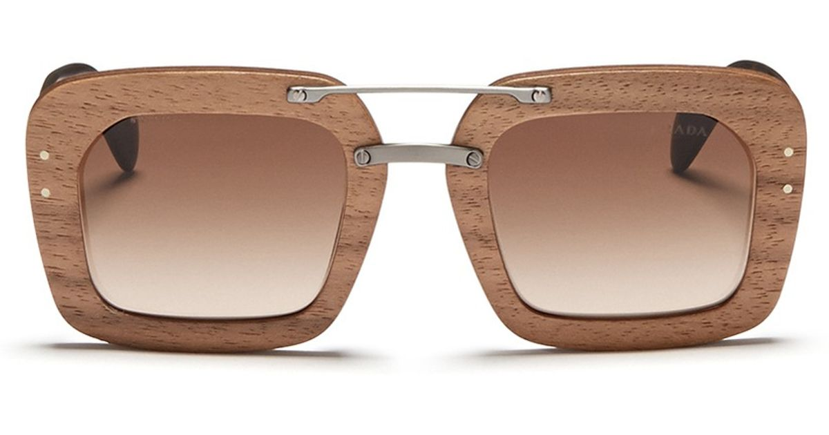 05761fa513c4 Prada 'raw' Matte Tortoiseshell Temple Wood Sunglasses in Brown - Lyst