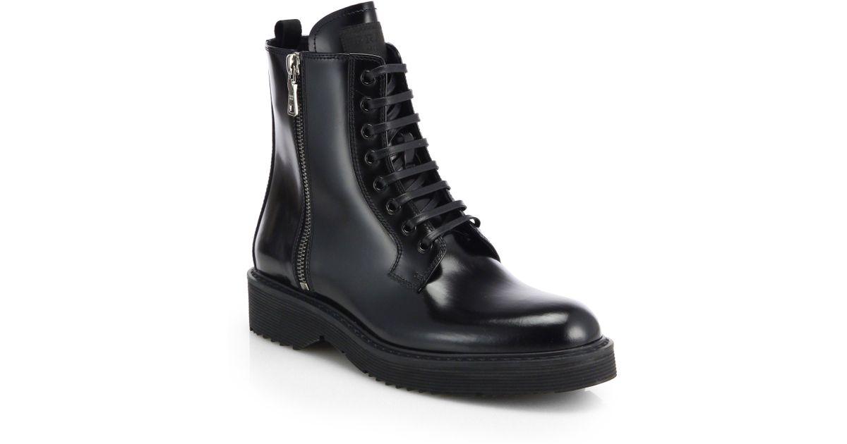 d7c6282c574 Prada Black Patent Leather Laceup Combat Boots