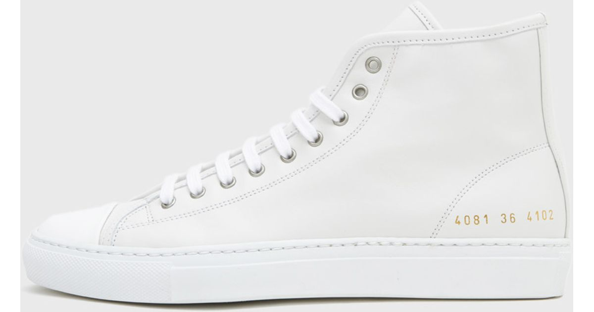 Common Projects White Tournament High Cap Toe Sneakers 94ftg6