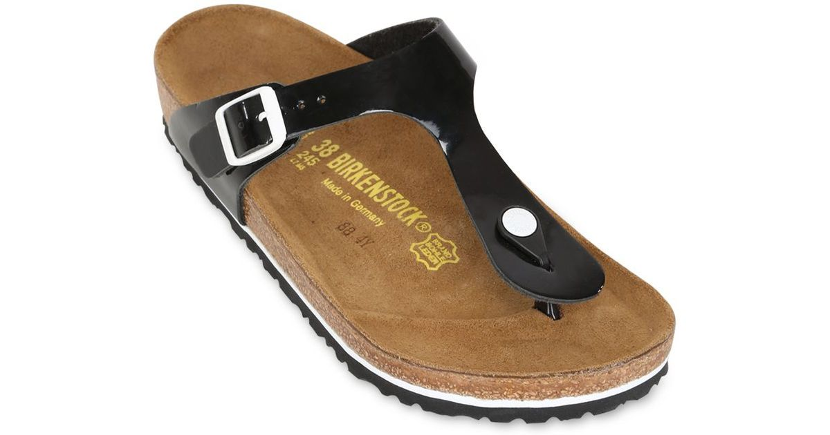 db460e20f57b Birkenstock Gizeh Patent Leather Thong Sandals in Black - Lyst