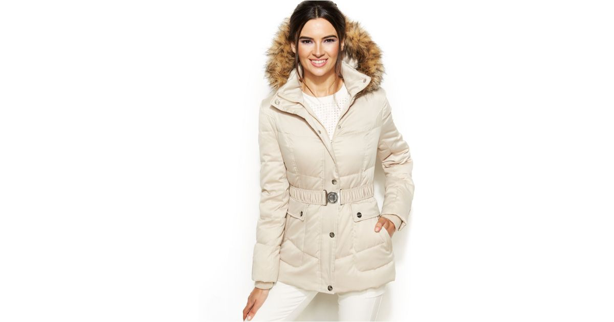 e06303ca8 DKNY Natural Hooded Faux-Fur-Trim Belted Down Puffer Coat