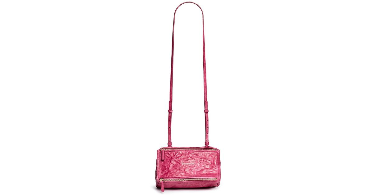 4d83a5108d Lyst - Givenchy  pandora  Mini Crinkle Leather Bag in Pink