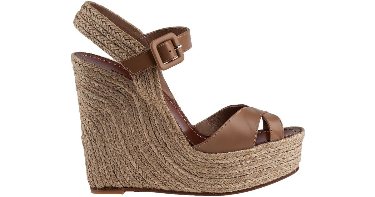 c5fc2b25a7c Valentino Brown St Tropez Wedge Espadrille Natural Leather
