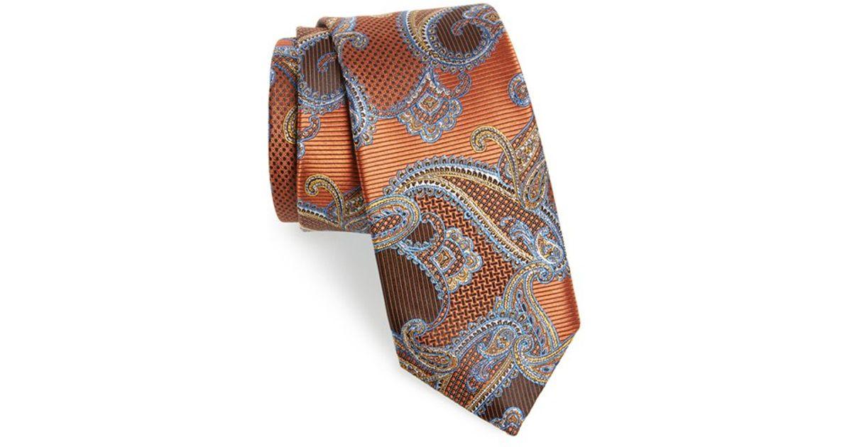 37588f12f853 Jz richards Paisley Print Silk Tie in Orange for Men | Lyst