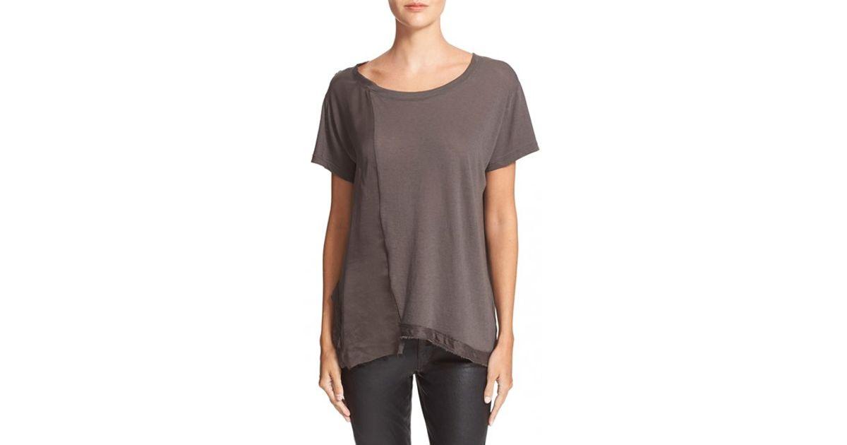 Rta denim 39 johnny 39 silk cotton tee in brown space lyst for Cotton silk tee shirts
