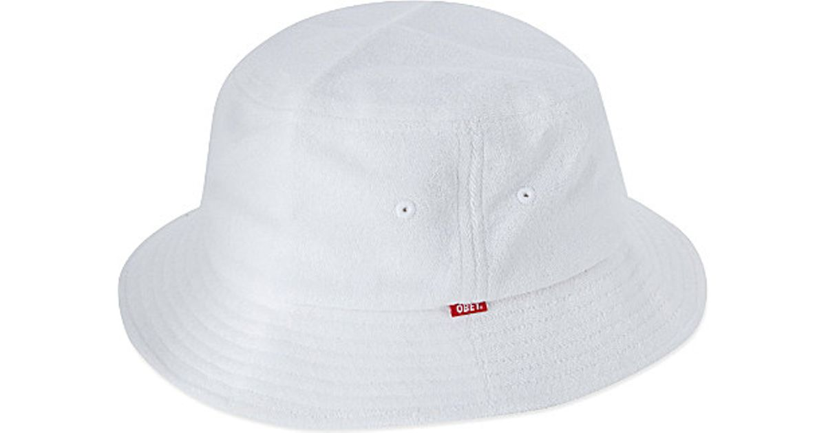 Obey Terry Cloth Bucket Hat in White for Men - Lyst 25598ce6a1e