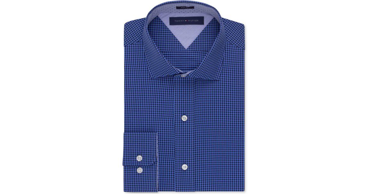 Tommy Hilfiger Easy Care Slim Fit Blue Gingham Dress Shirt