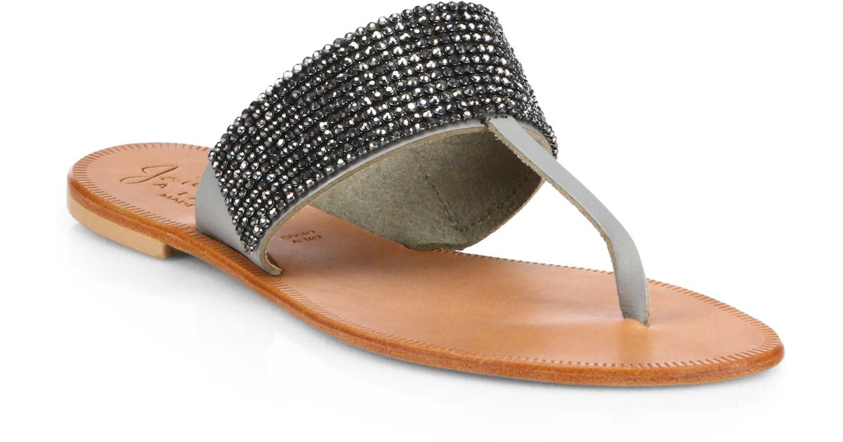 09105058deb7 Lyst - Joie Nice Jeweled Leather Thong Sandals in Metallic