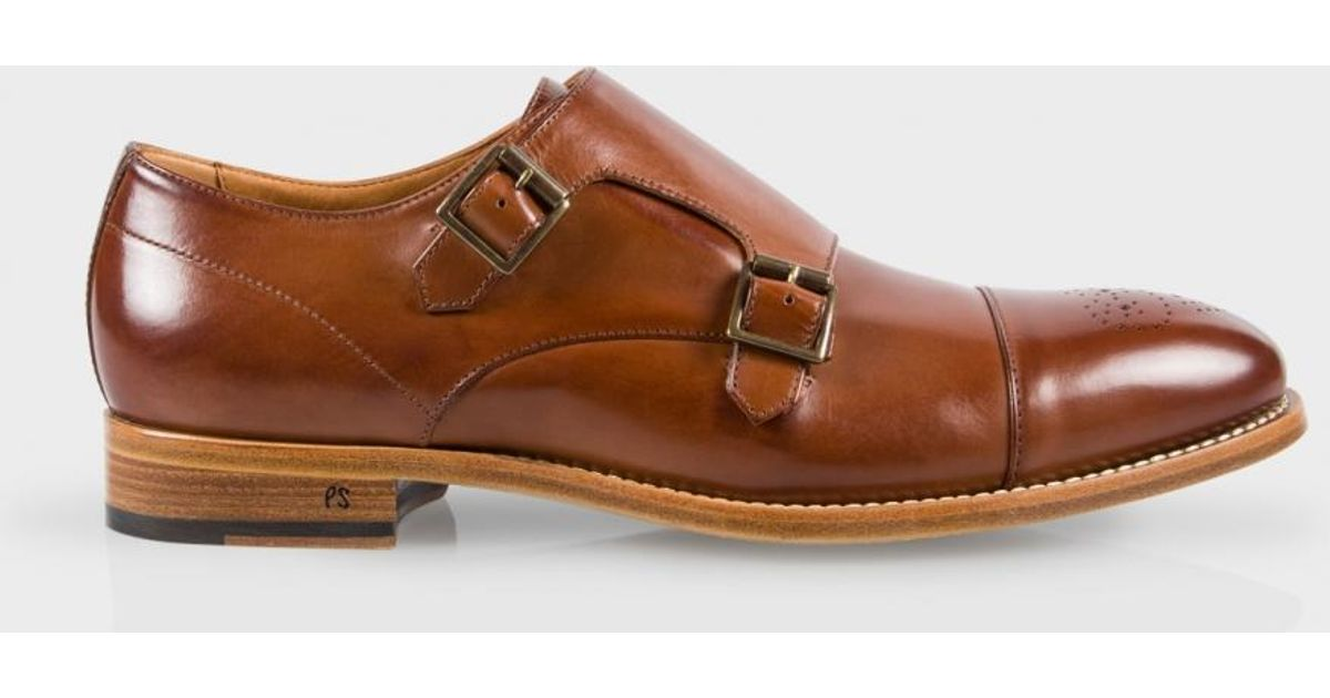Paul Smith Men S Tan Leather Atkins Monk Strap Shoes In Brown For