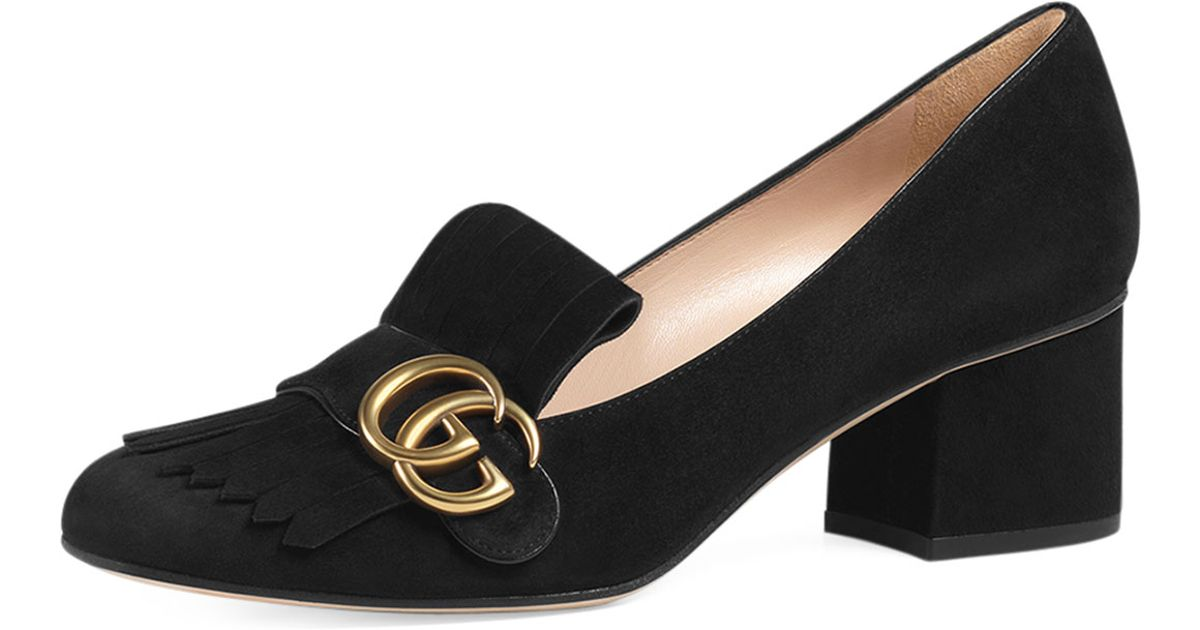 77e81a80c Lyst - Gucci Marmont Fringed Loafers in Black