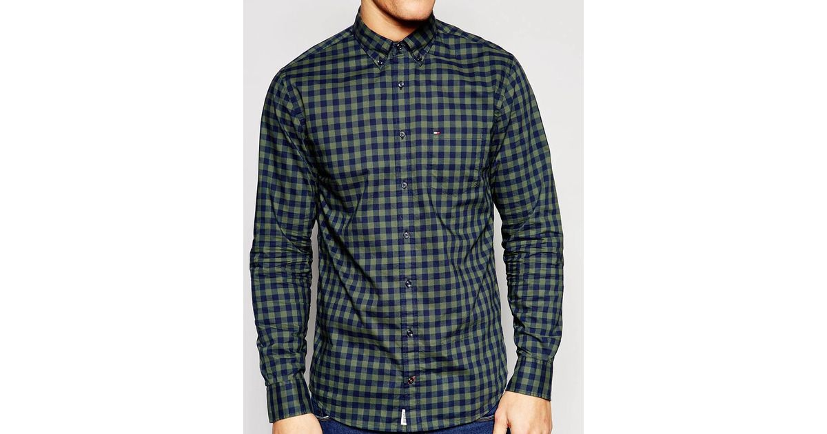 Tommy Hilfiger Large Gingham Check Shirt With Button Down