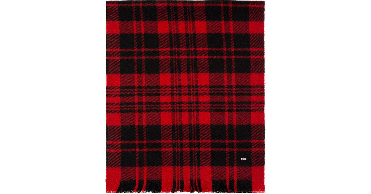 86436139f92 Saint Laurent Red And Black Wool Plaid Scarf for men