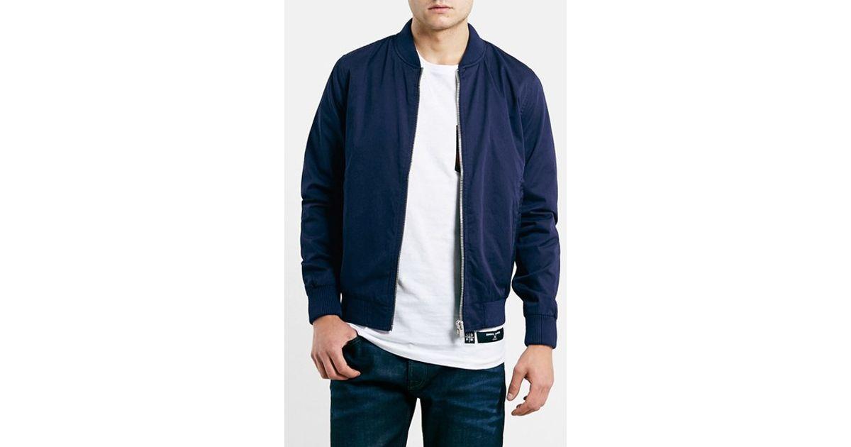 c38a787dbd1f Lyst - TOPMAN Cotton Bomber Jacket in Blue for Men