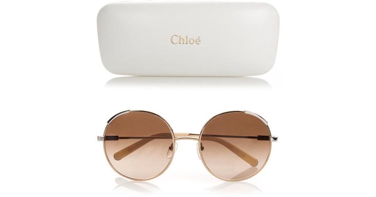 4854eda8c63f Lyst - Chloé Eria Round-Framed Sunglasses in White