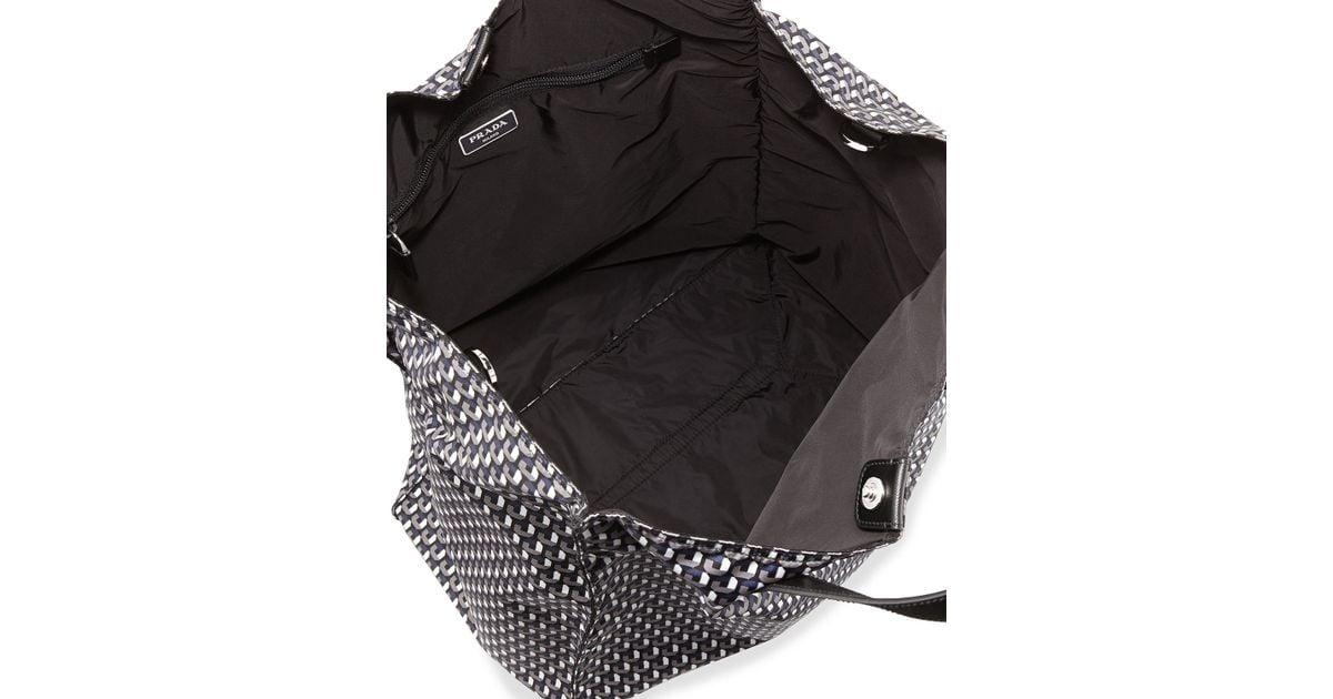 8288c11534 Prada Men's Octagon-print Nylon Tote Bag - Lyst