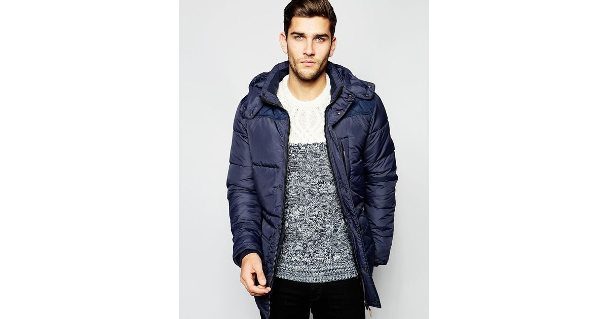 Lyst Blend Quilted Jacket Hooded Long In Blue For Men