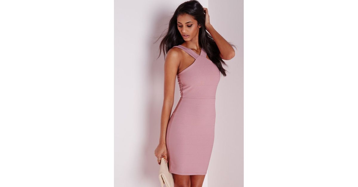 4594cacd3cd Missguided Bandage Cross Strap Bodycon Dress Mauve in Purple - Lyst