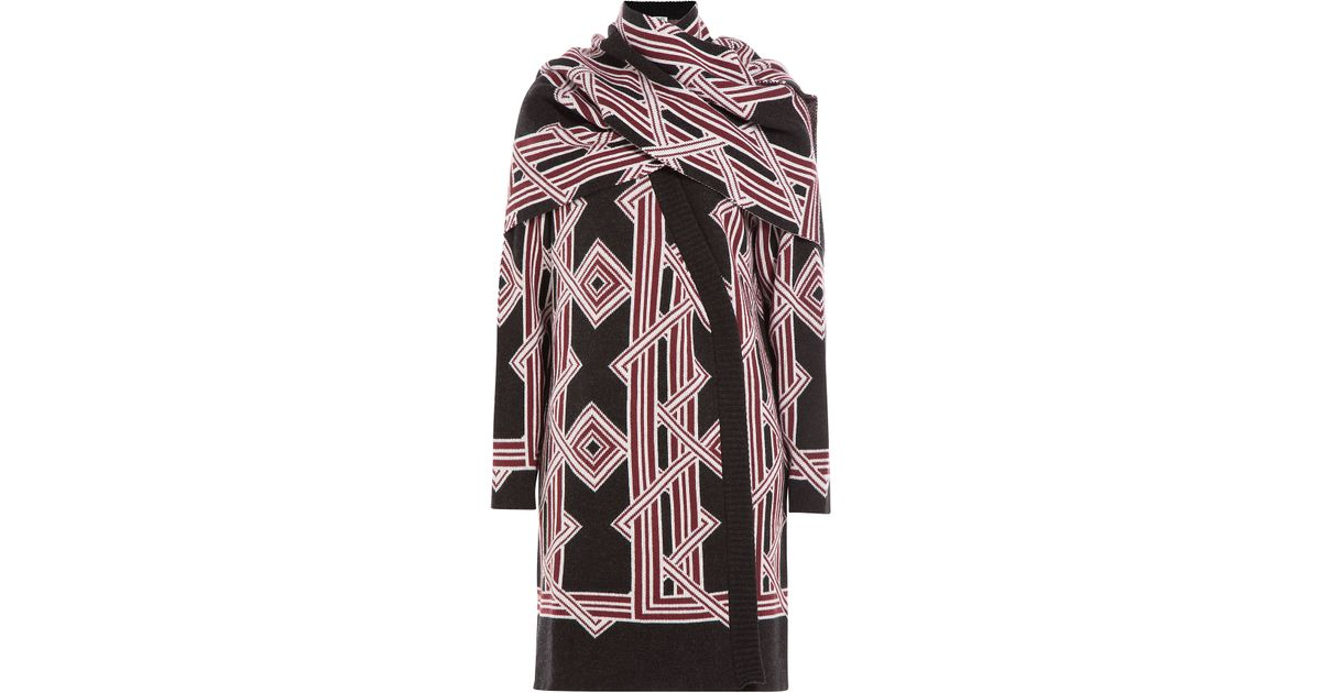 kenzo wool cardigan with scarf in pink lyst