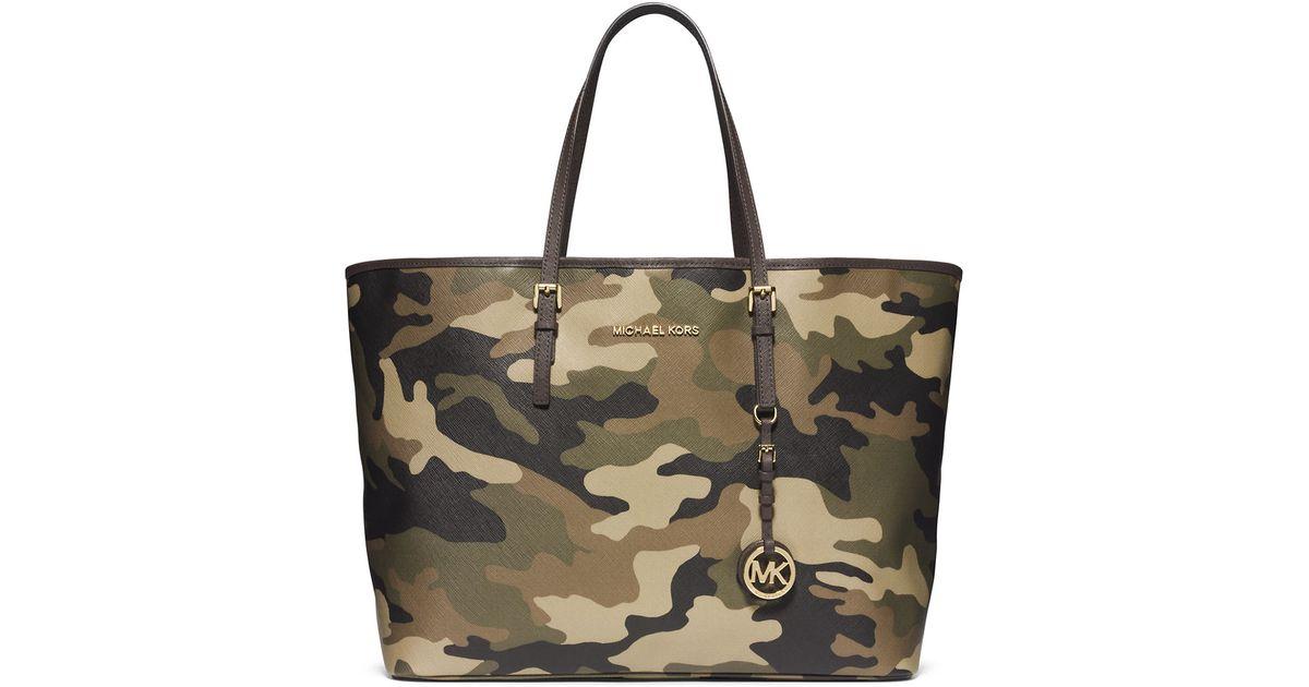50acc3848309 Lyst - Michael Michael Kors Jet Set Leather Medium Travel Tote Bag in Brown