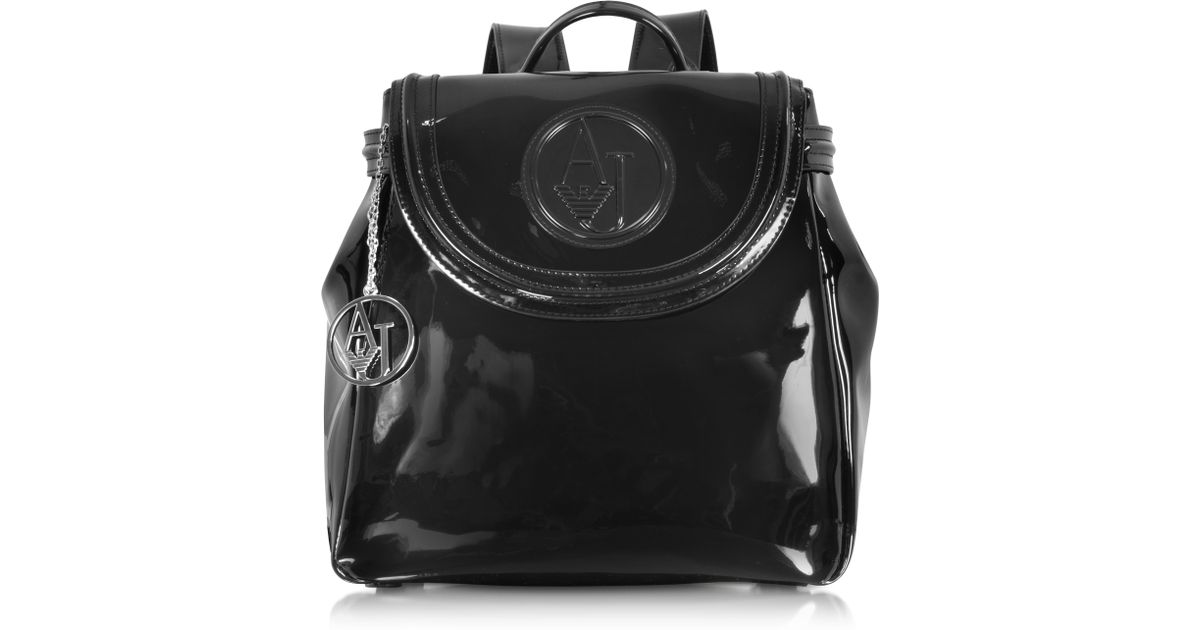 fce9810bd69 Armani Jeans Black Patent Eco Leather Backpack in Black - Lyst