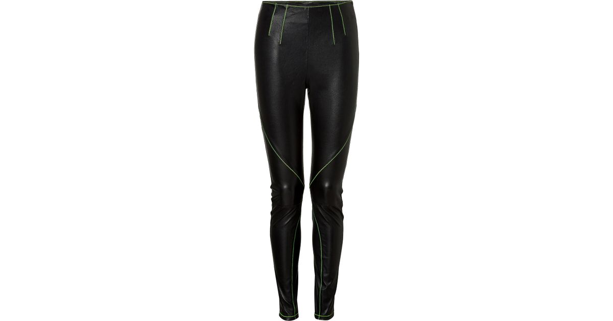 f81247684ae7 Lyst - T By Alexander Wang Leather Pants With Contrast Stitching - Black in  Black