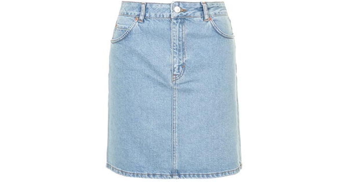 d37a777f89 TOPSHOP Moto High-waisted Denim Skirt in Blue - Lyst