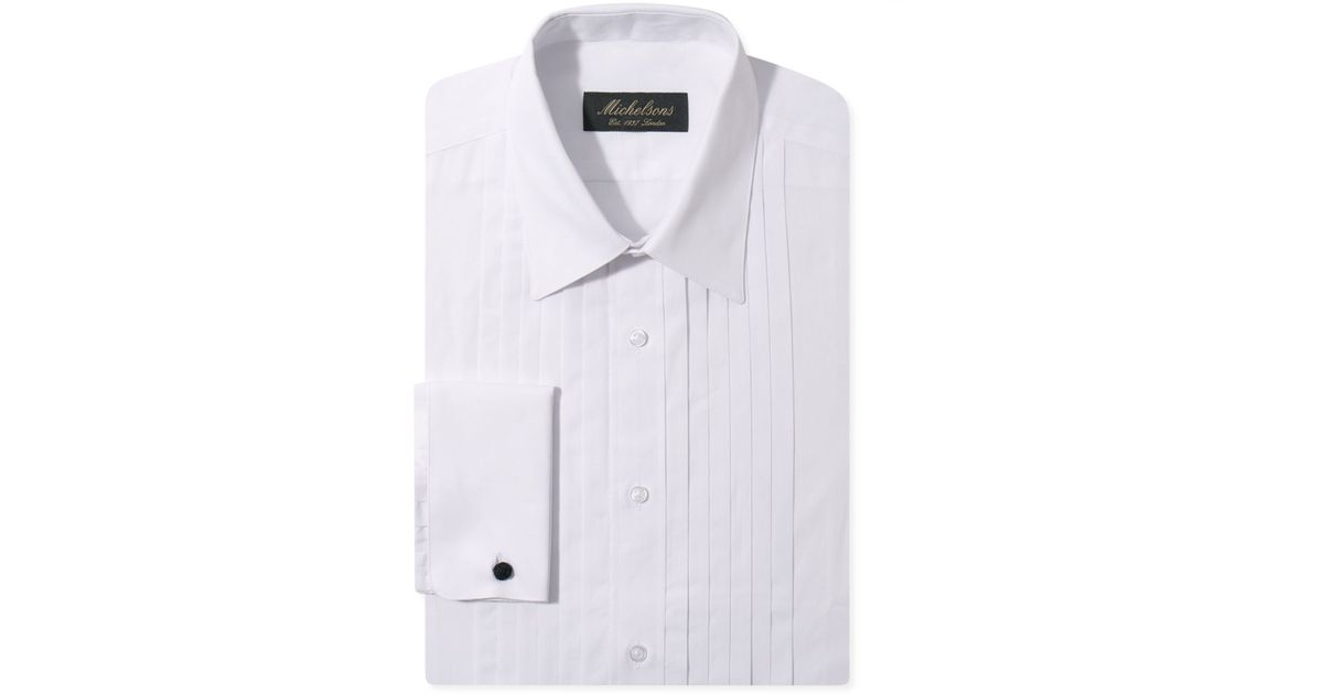 Michelsons Of London Slim Fit Pleated Point French Cuff
