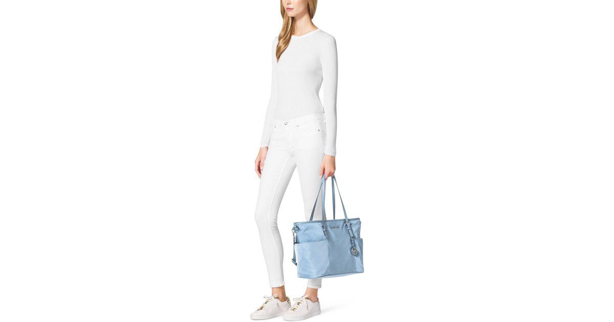 Lyst - Michael Kors Jet Set Large Nylon Diaper Bag in Blue 00b8aad1f2