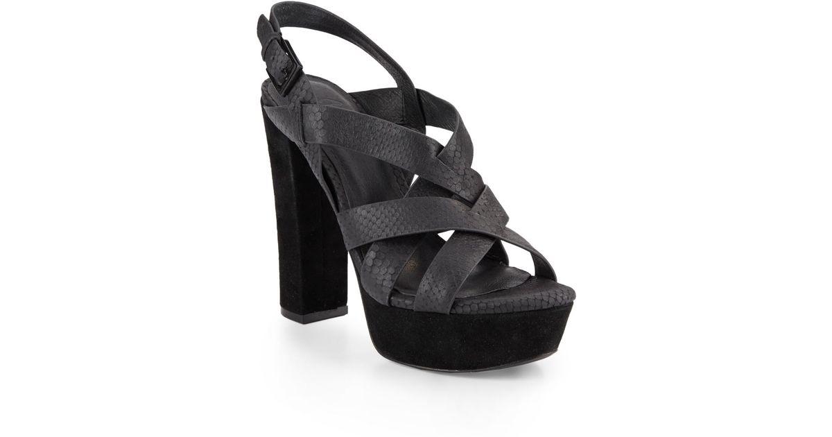 9688085369fc Lyst - Joie Inez Snakeskin-embossed Leather Platform Sandals in Black