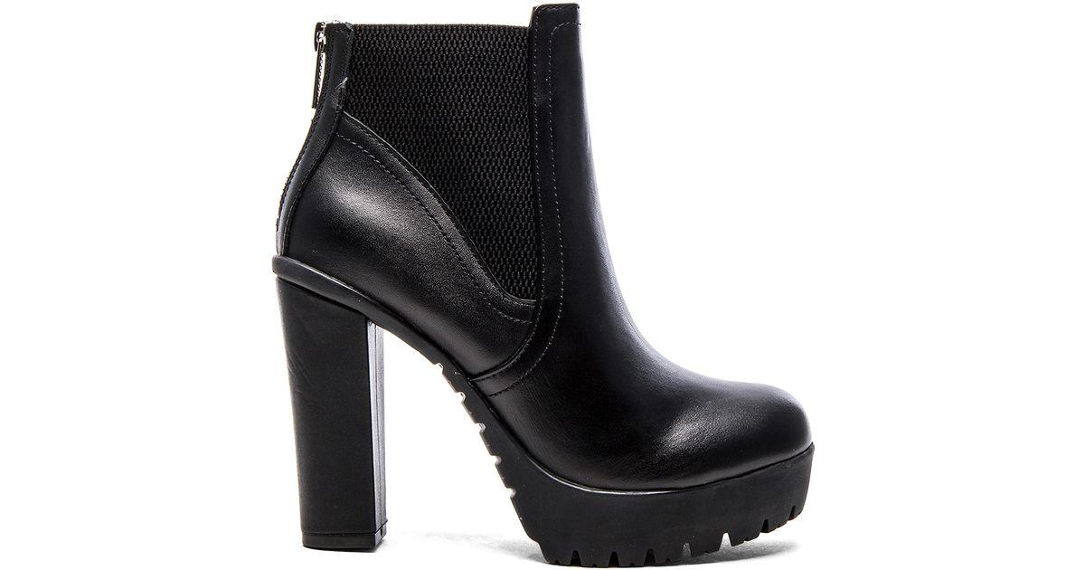 7af4311bf21 Lyst - Steve Madden Amandaa Leather Platform Boots in Black