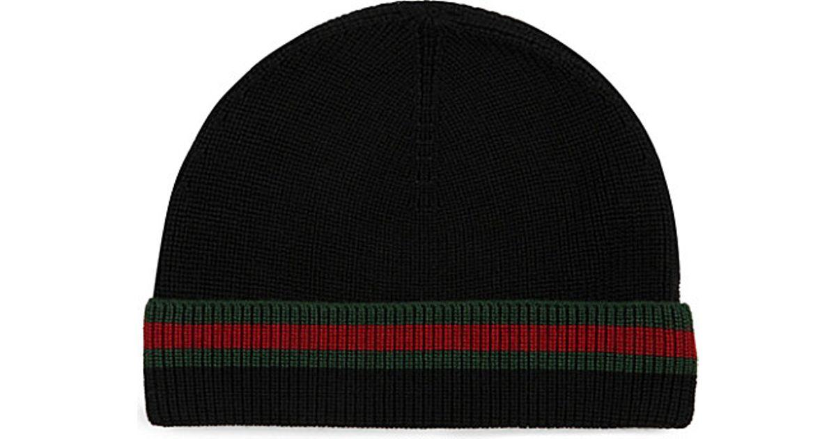 894cd1f5c688 Lyst - Gucci Wool Silk Beanie in Black for Men
