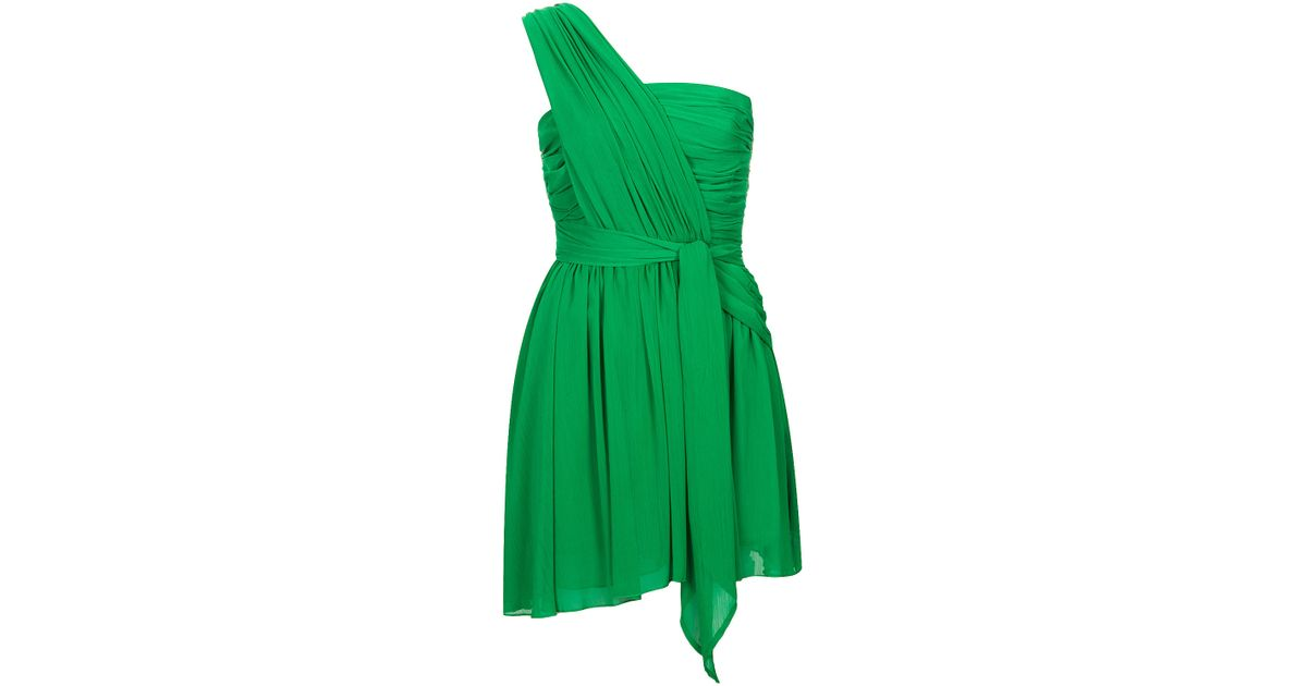 Lyst - Topshop One Shoulder Chiffon Dress By Kate Moss For in Green