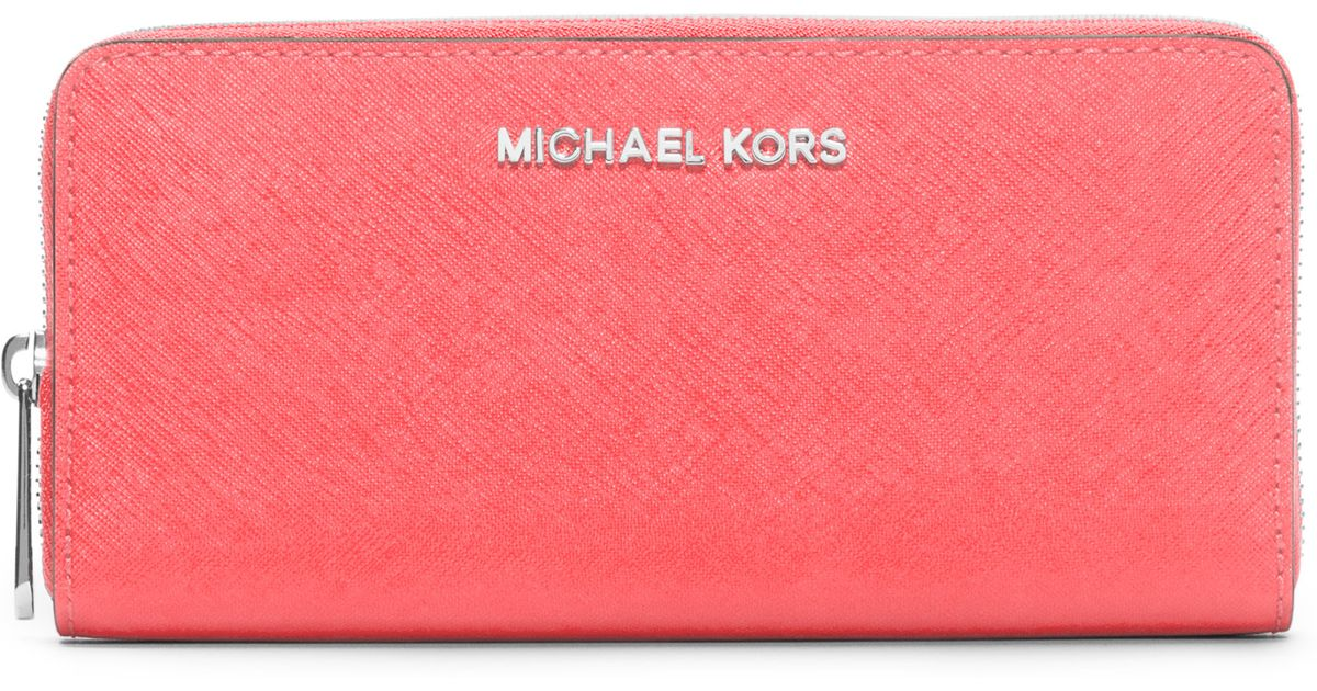 738f3505c81d Lyst - MICHAEL Michael Kors Continental Saffiano Leather Zip-around Wallet  in Orange
