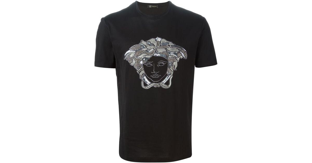 687a342a96 Versace Black Threaded Sequin 'medusa Head' T-shirt for men