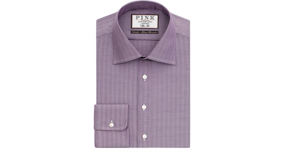 b5a444b76 Thomas Pink Deane Texture Slim Fit Shirt in Purple for Men - Lyst