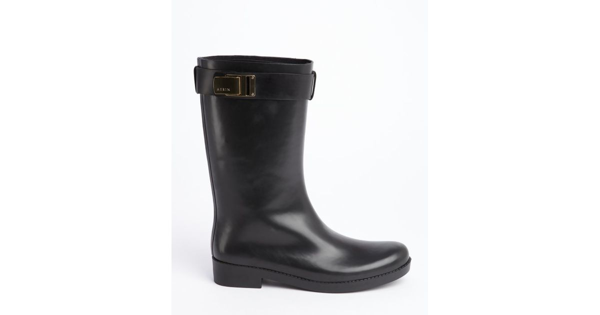 Aerin Black Rubber Gold Buckle &39Adera&39 Rain Boots in Black | Lyst