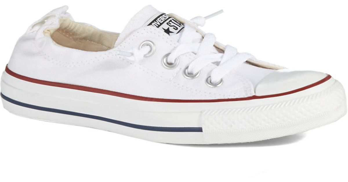 converse canvas lace up sneakers in white lyst