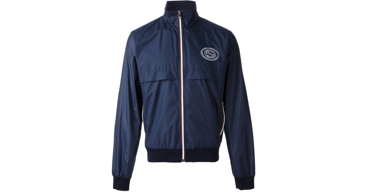 Gucci Classic Windbreaker Jacket in Blue for Men | Lyst