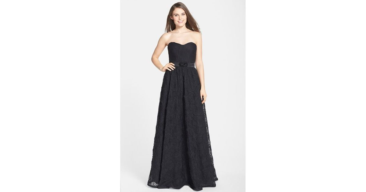 Adrianna Papell Tulle Pleat Bodice Rosette Ballgown In Black Lyst