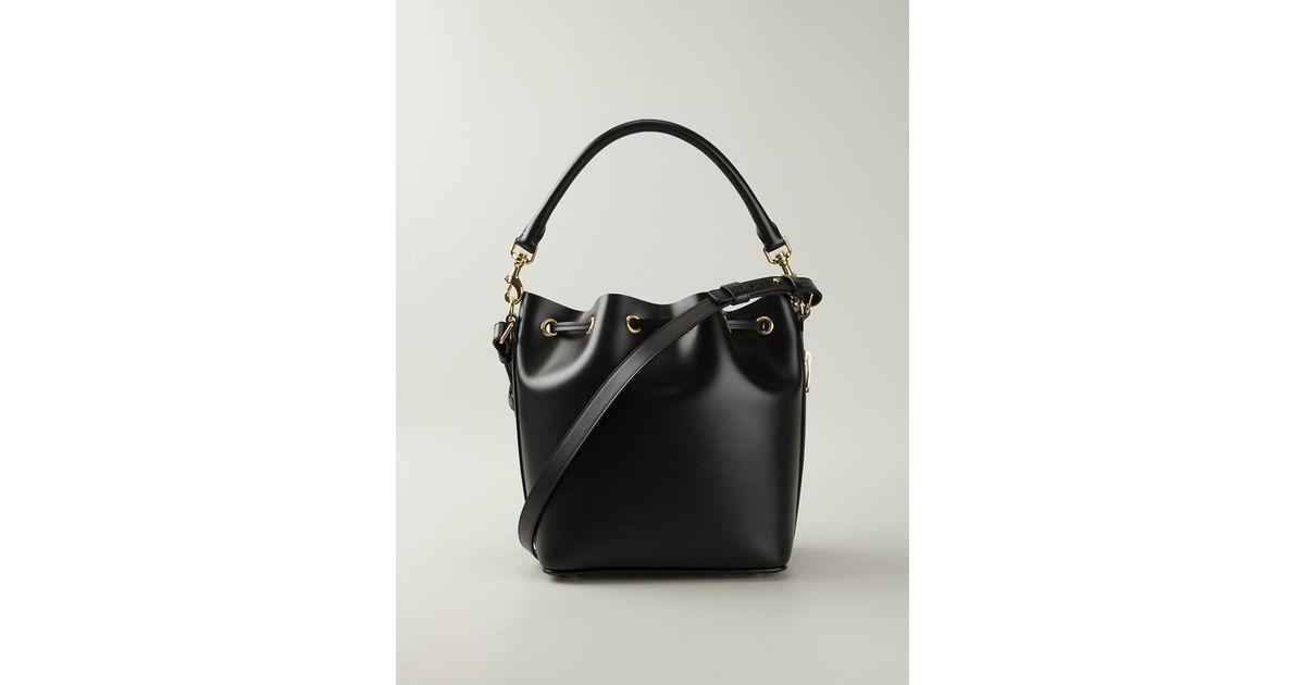 b7a3c67694 Lyst - Saint Laurent Emmanuelle Small Calf-Leather Bucket Bag in Black