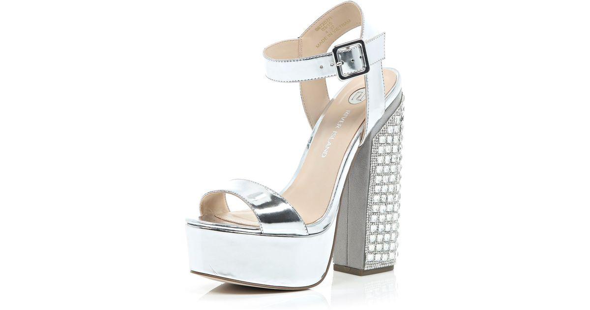 ccaef7f3f1 Nala Silver Snake Gem Clear Stiletto Heels