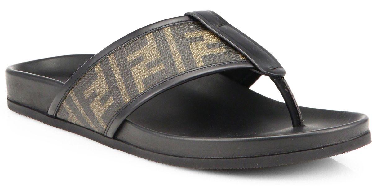 2c442e20cf90 Lyst - Fendi Zucca Logo Thong Sandals in Brown for Men