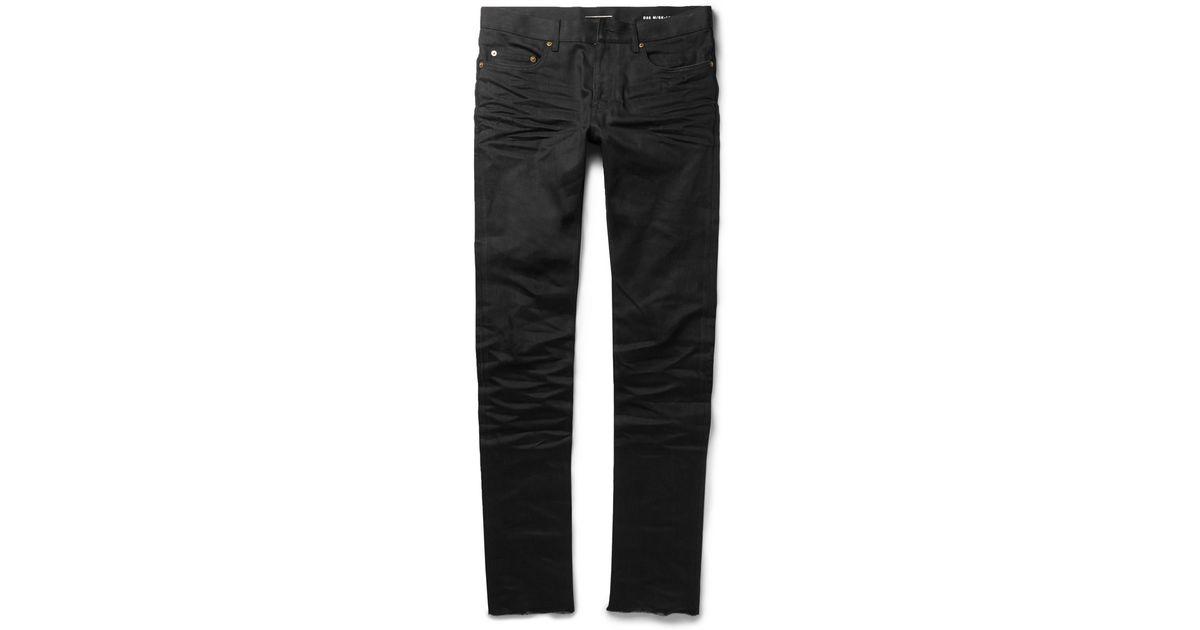 22d56577654 Saint Laurent Slim-Fit 15.5Cm Raw-Hem Denim Jeans in Black for Men - Lyst