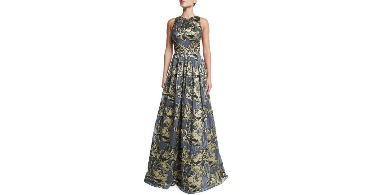 aaebf0078f Lyst - THEIA Sleeveless Metallic Floral Ball Gown in Blue