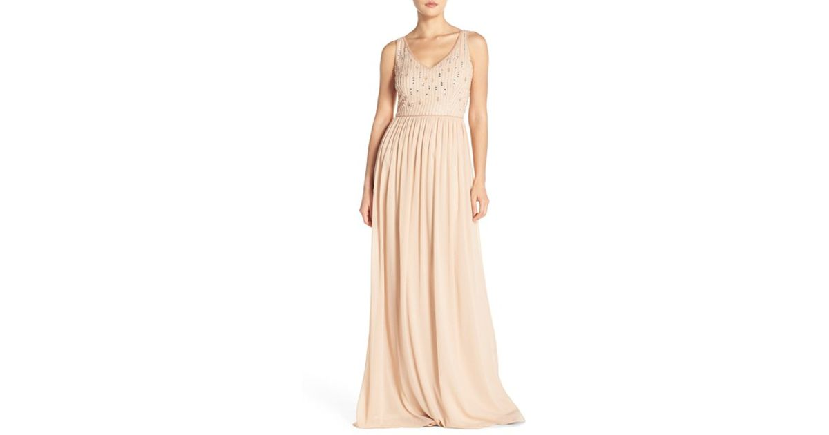 9a98441aa1 Adrianna Papell Beaded Bodice V-neck Chiffon Gown in Metallic - Lyst