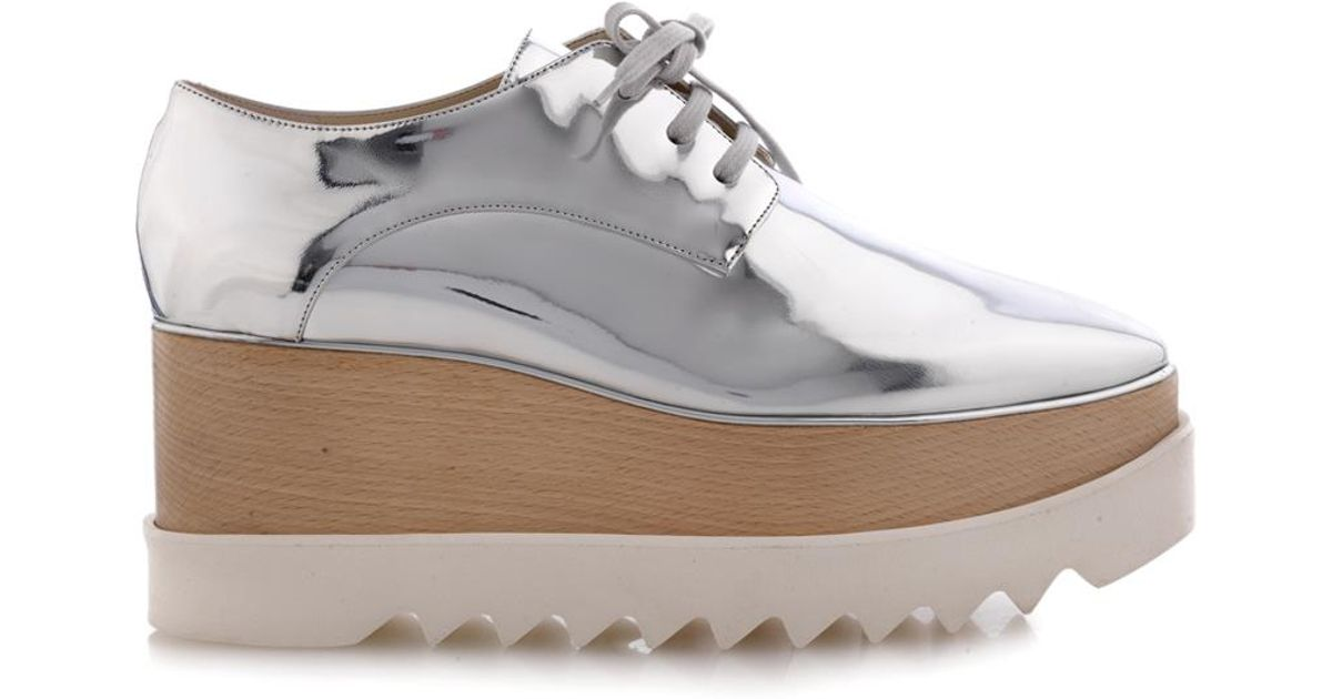 bf95aa46902a Lyst - Stella McCartney Elyse Lace-Up Platform Shoes in Metallic