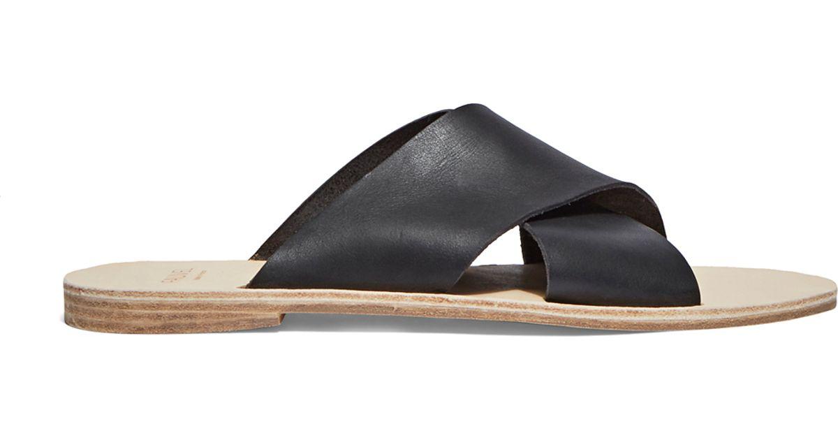 93ee2968c35 Fauvel Men's Cross Slip-on Leather Sandals In Black for men