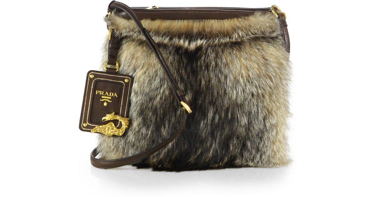 9ae5a233c5 Prada Fox Fur Messenger Bag in Beige (NATURALE)