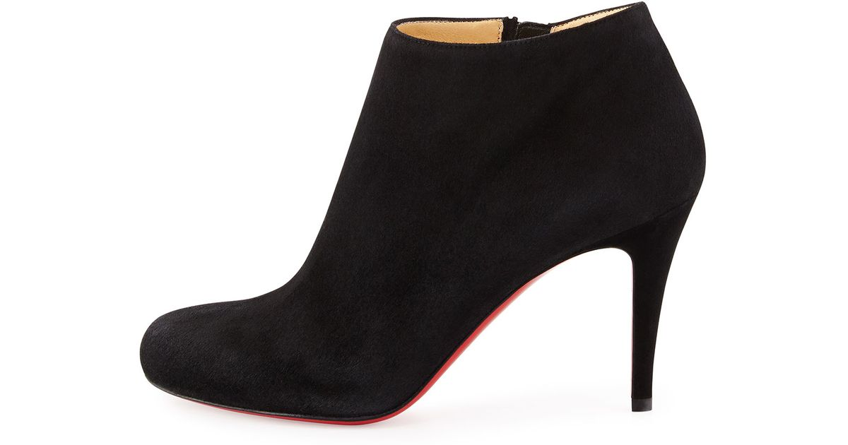 quality design 89ea5 627de Christian Louboutin Black Belle Round-toe Suede Red Sole Bootie